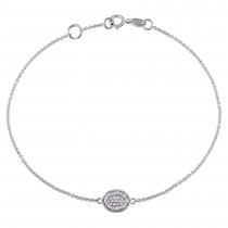 Oval Diamond Bracelet 14k White Gold (0.10ct)
