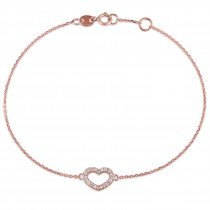 Heart Diamond Adjustable Bracelet 14k Rose Gold (0.10ct)