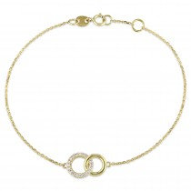 Circle Linked Diamond Bracelet 14k Yellow Gold (0.10ct)