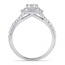 Asscher and Round Diamond Halo Engagement Ring 14k White Gold (1.20ct)
