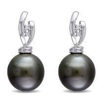 Round Tahitian Pearl & Diamond Accent Earrings 14k White Gold (0.05ct)