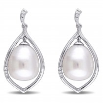 Drop Pearl & Diamond Dangle Earring 14k White Gold (0.10ct)