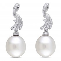 Drop Pearl & Diamond Dangle Earrings 14k White Gold (0.25ct)
