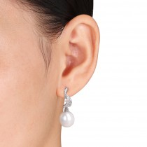 Drop Pearl & Diamond Dangle Earrings 14k White Gold (0.25ct)