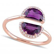 Half Moon Rhodolite Garnet and Diamond Ring 14k Rose Gold (2.10ct)