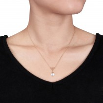 Rice Pearl & Diamond Drop Pendant Necklace 14k Rose Gold (0.05ct)