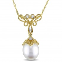 Rice Pearl & Diamond Drop Pendant Necklace 14k Yellow Gold (0.05ct)