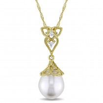 Rice Pearl & Diamond Drop Pendant Necklace 14k Yellow Gold (0.03ct)