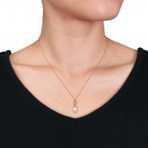 Rice Pearl & Diamond Drop Pendant Necklace 14k Rose Gold (0.05ct)|escape
