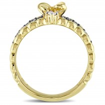 Three Band Multi-color Sapphire and Diamond Ring 14k Yellow Gold (0.32ct)