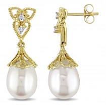 Tear Drop Pearl & Diamond Accent Dangle Earrings 14k Yellow Gold (0.06ct)
