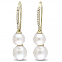 Round Pearl & Diamond Dangling Earrings 14k Yellow Gold (0.14ct)