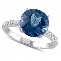Round Blue Topaz and Diamond Fashion Ring 14k White Gold (4.80ct)