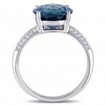 Round Blue Topaz and Diamond Fashion Ring 14k White Gold (4.80ct)