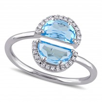 Half Moon Blue Topaz and Diamond Bypass Ring 14k White Gold (2.50ct)