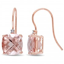 Cushion Morganite & Round Diamond Hook Earrings 14k Rose Gold (6.02ct)