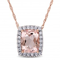 Cushion Morganite & Round Diamond Halo Pendant 14k Rose Gold (2.00ct)