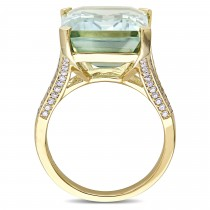 Octagon Green Amethyst and Diamond Cocktail Ring 14k Yellow Gold (15.40ct)