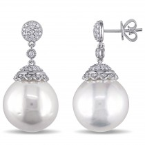 Round Pearl & Diamond Dangling Earrings 14k White Gold (0.50ct)