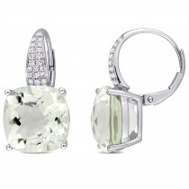 Cushion Green Amethyst & Round Diamond Earrings 14k White Gold(13.70ct)