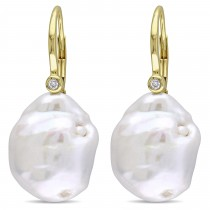 Baroque Pearl & Diamond Accent Earrings 14k Yellow Gold (0.06ct)