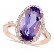 Oval Amethyst and Diamond Fashion Ring 14k Rose Gold (4.50ct)