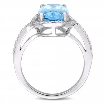Oval Blue Topaz and Diamond Halo Fashion Ring 14k White Gold (8.20ct)
