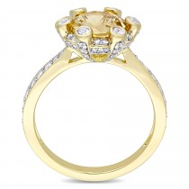Citrine and White Sapphire with Diamond Halo Ring 14k Yellow Gold (2.50ct)