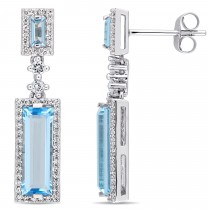 Baguette Blue Topaz & Round Diamond Dangle Earrings 14k White Gold(4.50ct)