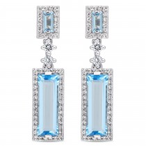 Baguette Blue Topaz & Round Diamond Dangle Earrings 14k White Gold(4.50ct)|escape