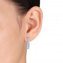 Baguette Blue Topaz & Round Diamond Dangle Earrings 14k White Gold(4.50ct)