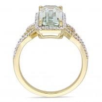 Octagon Green Amethyst and Diamond Halo Ring 14k Yellow Gold (3.60ct)
