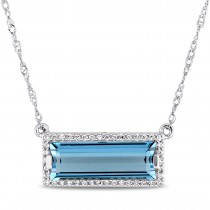 Baguette Blue Topaz & Round Diamond Pendant Necklace 14k White Gold (3.13ct)