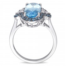 Oval Blue Topaz and Diamond Fashion Ring 14k White Gold (4.75ct)