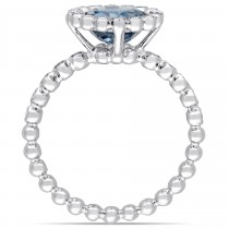 Round Blue Topaz and Diamond Halo Fashion Ring 14k White Gold (2.55ct)|escape