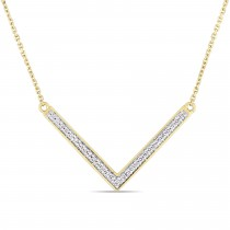 Diamond V Shaped Pendant Necklace 14k Yellow Gold (0.14ct) 17 Inch
