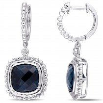 Cushion Blue Topaz & Diamond Earrings 14k White Gold (8.54ct)