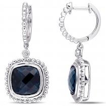 Cushion Blue Topaz & Diamond Earrings 14k White Gold (8.54ct)
