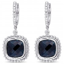 Cushion Blue Topaz & Diamond Earrings 14k White Gold (8.54ct)|escape