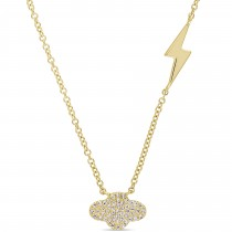 Cloud & Lightning Diamond Necklace 14k Yellow Gold (0.10ct)
