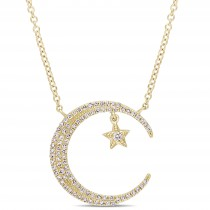 Diamond Star & Crescent Moon Pendant 14k Yellow Gold (0.20ct)