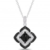Cushion Black Diamond & Round White Diamond Pendant Silver (1.33ct)
