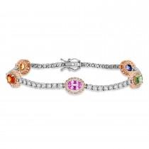 Oval Multi-Color Sapphire & Round Diamond Tennis Bracelet 14k Rose Gold (5.00 ct)