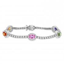 Oval Multi-Color Sapphire & Round Diamond Tennis Bracelet 14k White Gold (5.00 ct)