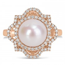 Round Freshwater Cultured White Pearl and Diamond Ring 14k Rose Gold (0.375 ct)
