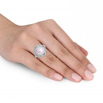 Round Freshwater Cultured White Pearl and Diamond Ring 14k White Gold (0.375 ct)