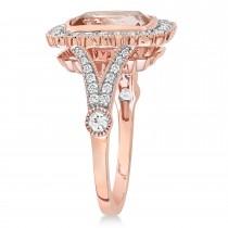 Cushion Morganite, Round White Sapphire and Round Diamond Ring 14k Rose Gold (3.50 ct )