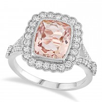 Cushion Morganite, Round White Sapphire and Round Diamond Ring 14k White Gold (3.50 ct )