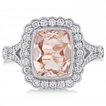 Cushion Morganite, Round White Sapphire and Round Diamond Ring 14k White Gold (3.50 ct )