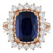 Cushion Spinel & Round Diamond Cocktail Ring 14k Rose Gold (7.95 ct)